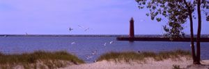 Lighthouse in Muskegon, Michigan.